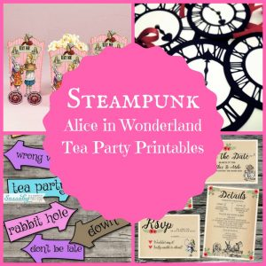 Steampunk Alice au pays des merveilles Tea Party Printables